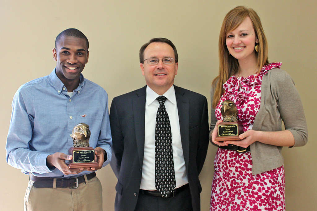 WBC Founders Award recipients Terry Flowers (left) and Moriah Hendrix (right) with Williams president Dr. Tom Jones (middle).
