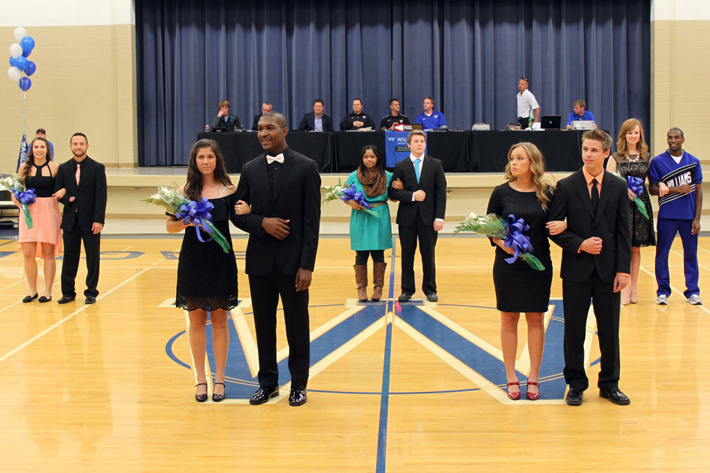 WBC Homecoming Court (from left to right): Makenna Wiedower, Carlos Owens-Hughes, Bethany Cummins, Patrick Smith, Ebony Scott, Cory Platt, Callie Brooks, Ben Carr, Moriah Hendrix and Terry Flowers.