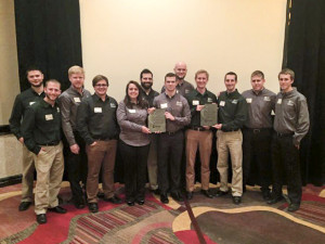 JBU senior construction management students pose with their first place trophies at the ASC Region 5 regional competition in Dallas. (Pictured L to R: Daniel Coon, Ross Becker, Jeff Williams, Stephen LaGue, Heather Pielemeier, Bryan Bova, Derek Stout, Nathan Greathouse, David Carlson, Jonathan Jenkins, Matt Carnefix, and Cody Phillips.)