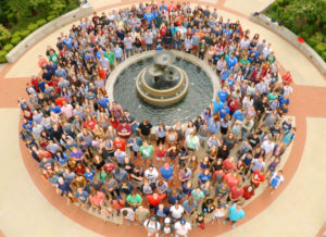 JBU's class of 2020 surrounds the JBU fountain in the Cathedral Plaza. These 418 new students begin classes at JBU's main campus Wednesday, Aug. 24.
