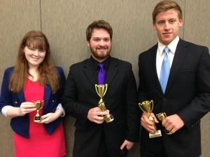 (From left to right) Freshman Megan Chapin, sophomore Justin Burchfiel and junior Brad Johnson.